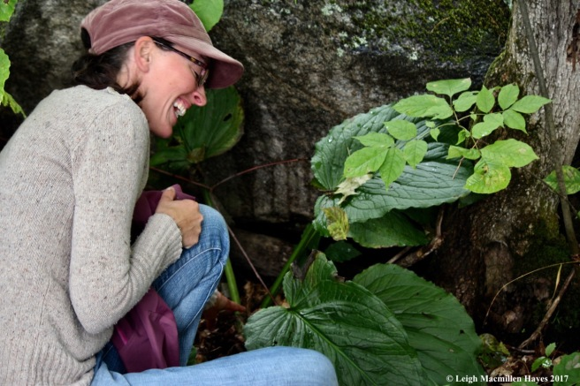 s31-Alanna laughing by skunk cabbage