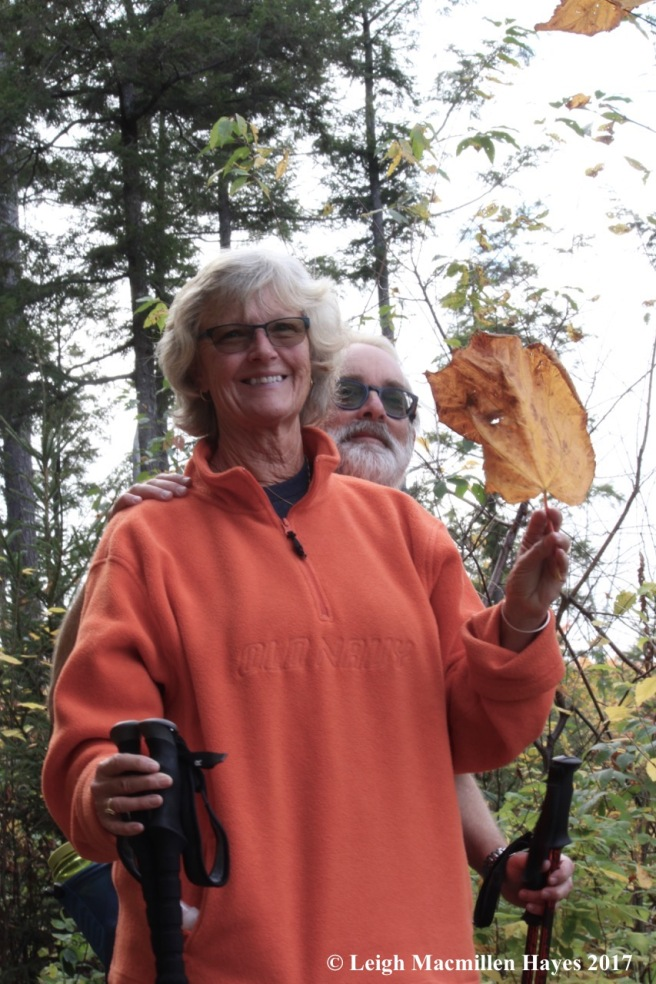 m-Pam holding a huge striped maple leaf, Bob photobombing