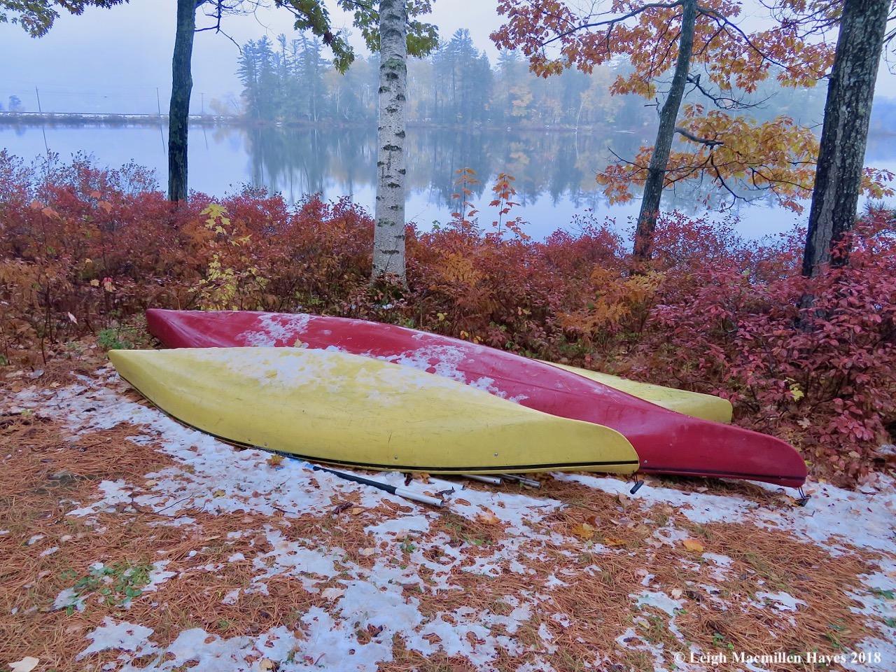 1-snow on the kayaks